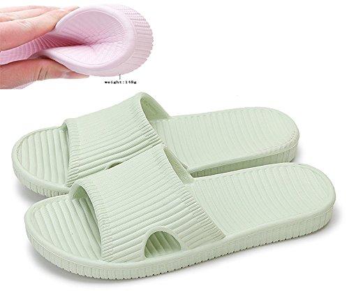 """Slip On Pantofole Doccia Antiscivolo Sandali House Schiume Mule suola scarpe Piscina Bagno Slide per adulti, Green, uk 4.5-5.5(outsole 9.8"""")"""