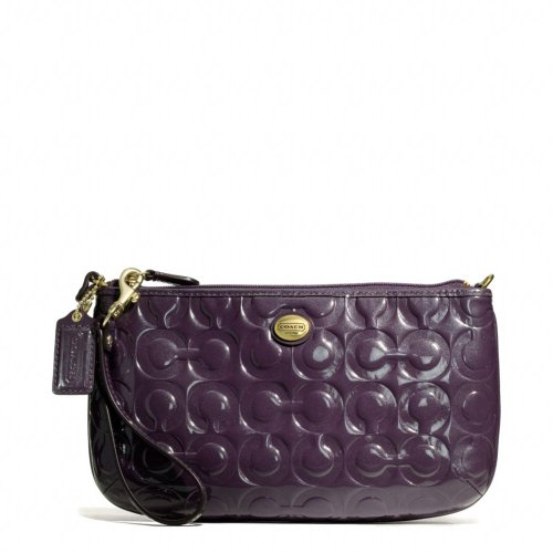 Coach   Coach Peyton Embossed Patent Leather Large Wristlet Clutch Wallet Purple