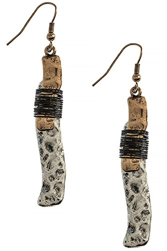 [Boho Wire Wrapped Wavy Textured Bar 316L Surgical Steel Earrings (Gold/Silver)] (Wavy Guy Costume)