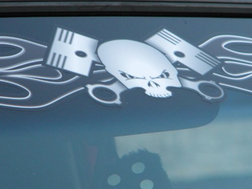 East Coast Vinyl Werkz - Flamed Skull & Pistons - windshield decal - PistonHead (Harley Back Window Decals compare prices)