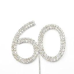 Bling Rhinestone Number Crystal Wedding Cake Topper Decorating Birthday Cake Decorations Number 60