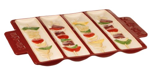Grasslands Road 2-Pack Shish Kebab Sectioned Platter, 10 By 14-Inch