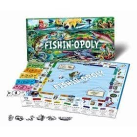 Fishin-Opoly Fishing Trip Fly Fish Fisherman Monopoly Board Game Educational Toy Featuring: Bass, Worms, Bobbers, Salmon, Trout, Musky, Pike, Walleye, Catfish, Perch, Carp, Crappie, Blue Gill and more