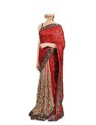 FabTexo Womens Saree With Blouse Piece (Dipika_Red_Sari _Multi-Coloured _Free Size)