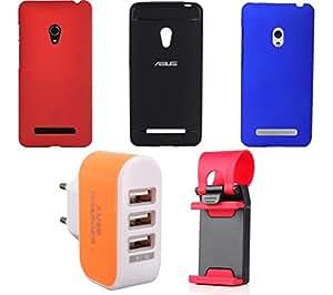 NIROSHA Cover Case Mobile Holder Charger for ASUS Zenfone 5 - Combo