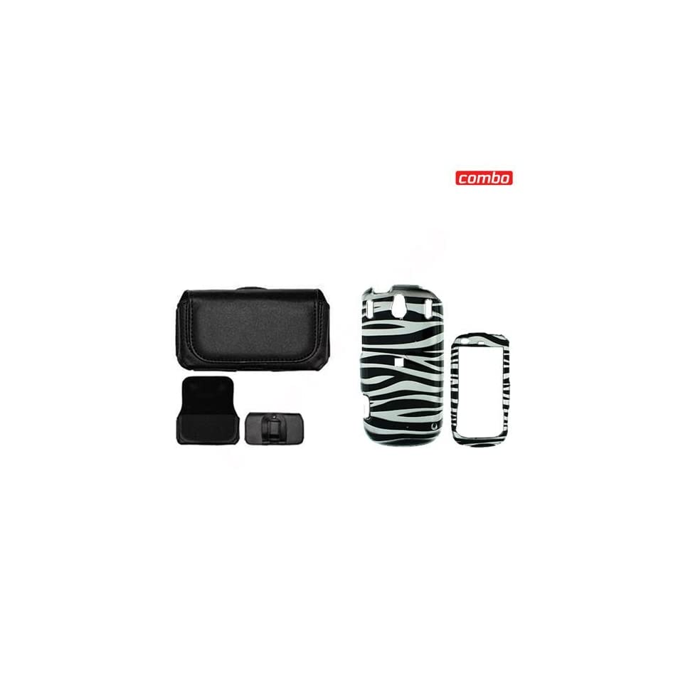 Palm Pixi CDMA Sprint Combo Black/White Zebra Design Protective Case Faceplate Cover + Black Horizontal Leather Pouch for Palm Pixi CDMA Sprint