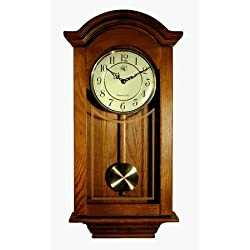 River City Clocks Chiming Regulator Wall Clock with Swinging Pendulum and Oak Finish - 24 Inches Tall - Model # 6023O by River City Cuckoo Clock