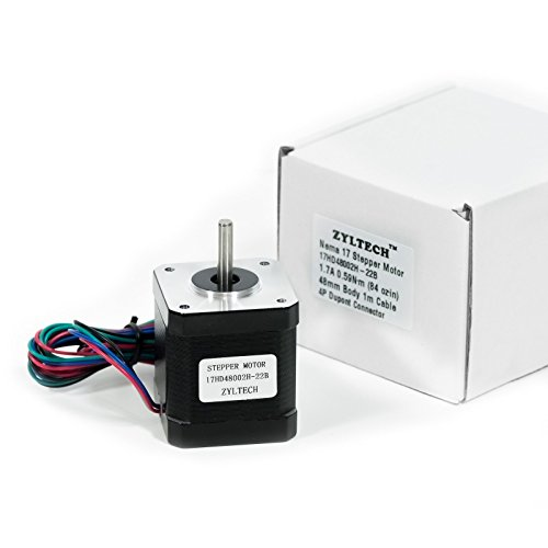 Zyltech Nema 17 Stepper Motor 1.7 A 0.59 Nm 84 Oz.In 48Mm Body W/ 1M Cable & Connector For 3D Printer/Cnc