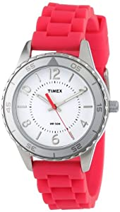 Timex Women's T2P020KW Ameritus Sport White Dial, Raspberry Silicone Strap Watch