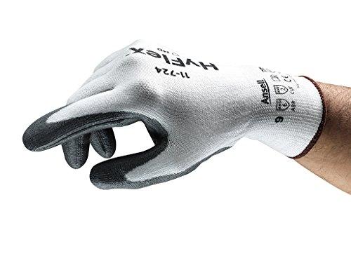 Ansell HyFlex 11-724-Guanti di protezione contro tagli, escoriazioni, protezione meccanico, colore: bianco (Confezione da 12 paia), 9, Bianco, 12