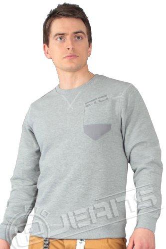 ETO Designer Mens Crew Neck Sweatshirt with Patch Details EST160 All Sizes (S, Grey Marl)