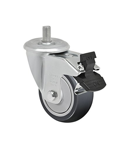 """Schioppa L12 Series, Gleed 312 Tbe G, 3 X 1-1/4"""" Swivel Caster With Total Lock Brake, Non-Marking Thermoplastic Rubber Precision Ball Bearing Wheel, 150 Lbs, 3/8"""" Diameter X 1"""" Length Threaded Stem front-402982"""