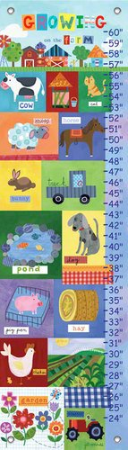 Oopsy daisy Growing on the Farm Growth Chart by Jill McDonald, 12 by 42 Inches