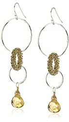 MINU Jewels Silver Gold Citrine Earrings