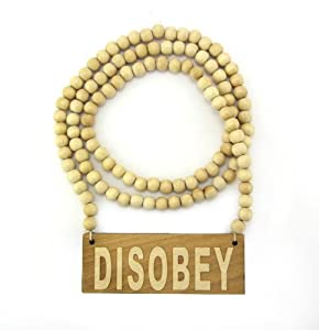 "Wooden Disobey Pendant Piece 36"" Bead Chain Good Wood Style - Natural"