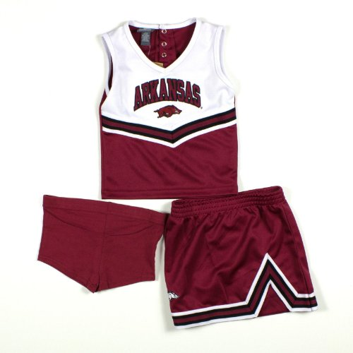 Girls Arkansas Razorbacks 3 Piece Cheerleader Outfit W/Shorts 3T Cardinal/White at Amazon.com