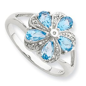 Sterling Silver Rhodium Light Swiss Blue Topaz Diamond Ring - Size 8 - JewelryWeb