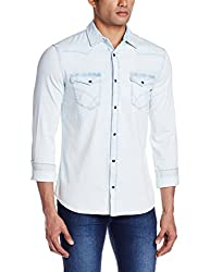 GAS Men's Casual Shirt (8056775030447_74135WY84_XX-Large_WY84 - Blue)