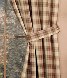 Country Kitchen Cinnamon Brown Plaid Tie Back Curtains Home Kitchen