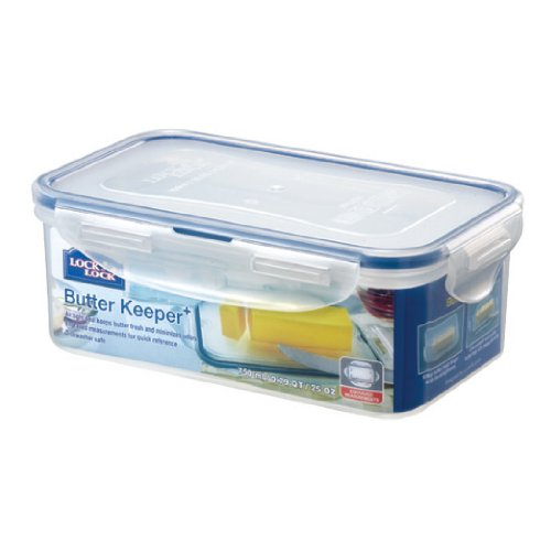 Lock&Lock 25-Fluid Ounce Rectangular Food Container With Tray, 3.1-Cup, Butter Case