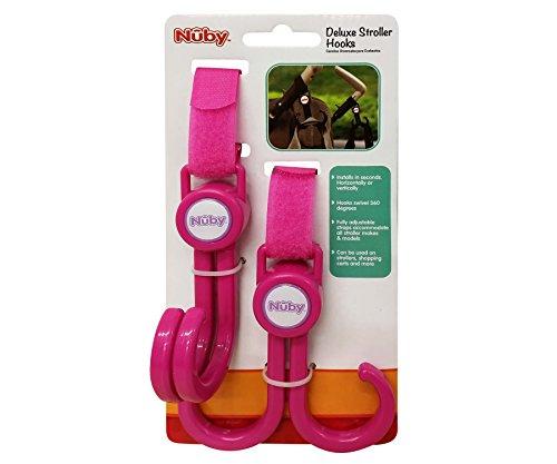 Nuby Deluxe Double Stroller Hooks, Pink