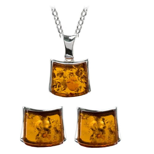 Baltic Honey Amber and Sterling Silver Pendant and Designer Earrings Set, 18