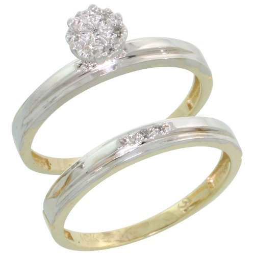 10k Gold 2-Piece Diamond Engagement Ring Set, w/ 0.07 Carat Brilliant Cut Diamonds, 1/8 in. (3mm) wide, Size 5