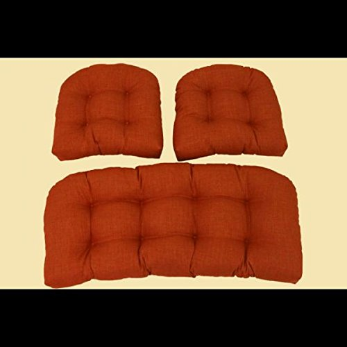 Outdoor Wicker Settee Cushions w Solid Fabric - Set of 3 (Sandstone) image