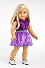 Sugar Plum - Sparkling purple holiday party dress with matching silver slippers - Clothes for American Girl Dolls
