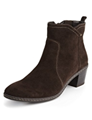 Footglove™ Suede Wide Fit Panelled Ankle Boots