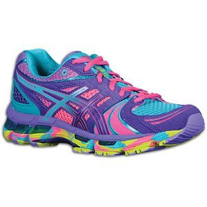 Asics Women's Gel-Kayano 18 Running Shoe, Electric Purple/Turquoise/Lime, 7 M US