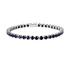 14k White Gold Round Blue Sapphire Tennis Bracelet, 8