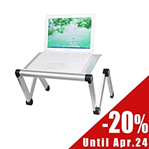 SoBuy FBT24-Sil Table de Lit Ergonomique- TableStand - Support pliable pour ordinateur portable et iPad Pliable Inclinable -Argent