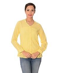 Oviya Women's Yellow Solid Tops