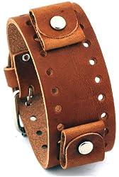 Nemesis #BN-B Brown Wide Leather Cuff Wrist Watch Band