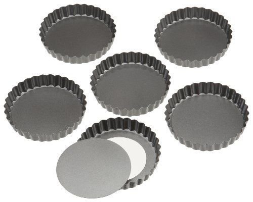 Wilton Perfect Results 4 Inch Round Tart Quiche Torte Pan Set of 6
