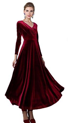Urban CoCo Women long sleeve V-neck Velvet Stretchy Long Dress (XX-Large, Wine Red)
