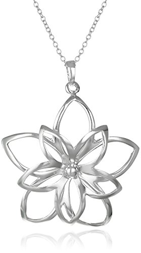"Sterling Silver Double-Flower Pendant, 16"" + 2"" Extender"
