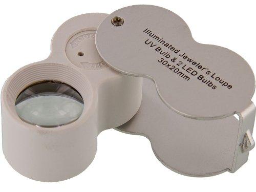 SE 30x20mm Plastic Body Jewelers Loupe 2 Led 1 Uv Light