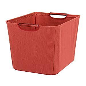 Household Essentials Open Tapered Bin with Wood Handles, Medium, Red