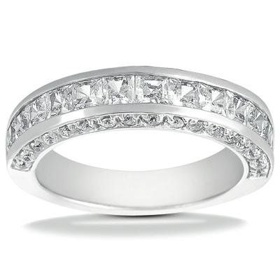 2.45 ct Ladies Princess Cut and Round Cut Diamond Wedding Band In Channel Setting in 18 kt White Gold