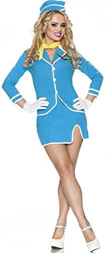 Delicious Vintage Friendly Skies Costume, Blue, X-Small