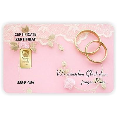 Goldbarren Geschenkkarte 0,5 g 0,5g Gramm Feingold 999.9 Nadir Gold Hochzeit