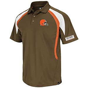 NFL Cleveland Browns Men's Field Classic VI Short Sleeve Polo, Classic Brown/Dark Orange/White, Small