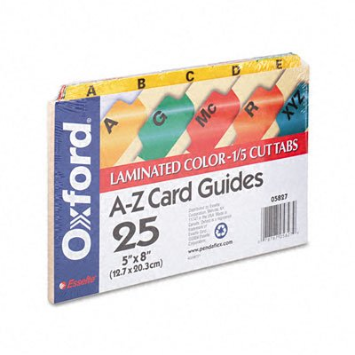 Oxford : Laminated Index Card Guides, Alpha, 1/5 Tab, Manila, 5 x 8, 25/Set -:- Sold as 2 Packs of - 25 - / - Total of 50 Each card guides alpha 1 5 tab polypropylene 5 x 8 25 set