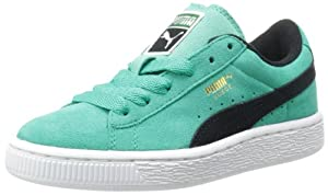 PUMA Suede Junior Sneaker (Little Kid/Big Kid),Fluorescent Teal/Black,11 M US Little Kid