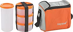 Nayasa Nebula Plastic Lunch Box, 4-Pieces, Orange