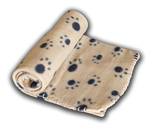 Ultra Light Comfortable Soft 39 x 27 Inches Fleece Pet Dot Cat All Year Round Blanket Animals Puppy Kitten Bed Warm Sleep Mat Fabric Indoors Outdoors (Tan)