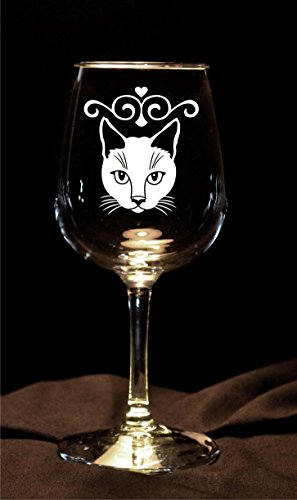 Pretty Cat Etched Wine Glasses - Set of 2