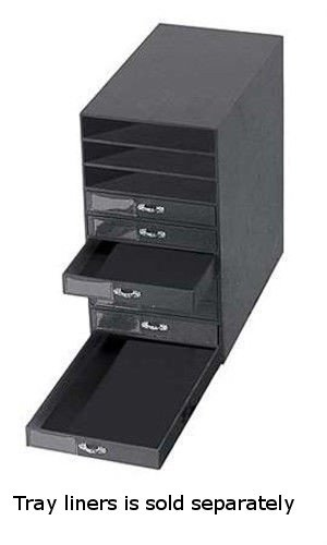 Bon Black Leatherette 10 Drawer Jewelry Storage Organizer 14 5/8u2033L 8 1/2u2033W 16  1/4u2033H
